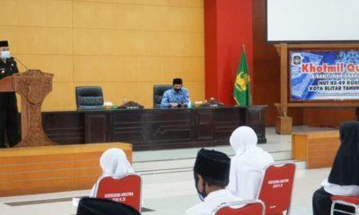 Acara Khotmil Quran dan pemberian santunan kepada anak yatim dalam rangka HUT Korpri ke-49 Kota Blitar.